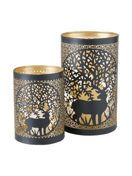 Portavelas Tarnuza, 2uds., Aluminio, Estructura: madera de roble, negro pintado Patas: dorado brillante cepillado, Set de diferentes tamaños