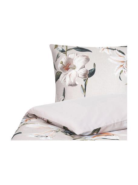 Pościel z satyny bawełnianej Flori, Przód: beżowy, kremowobiały Tył: beżowy, 135 x 200 cm + 1 poduszka 80 x 80 cm