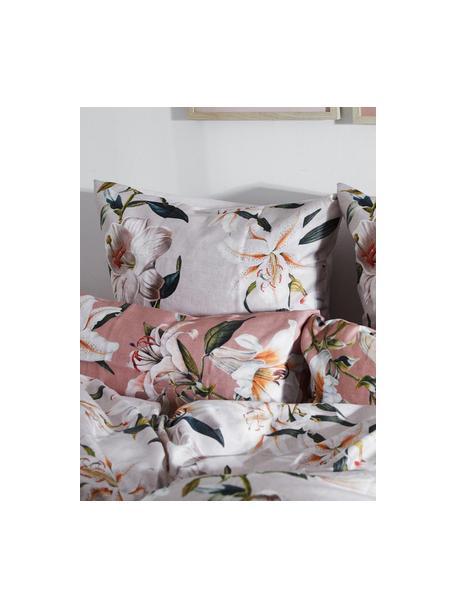 Baumwollsatin-Bettwäsche Flori in Beige mit Blumen-Print, Webart: Satin Fadendichte 210 TC,, Vorderseite: Beige, CremeweißRückseite: Beige, 135 x 200 cm + 1 Kissen 80 x 80 cm