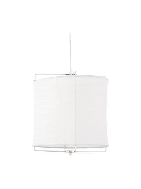 Hanglamp Clouds van linnen, Lampenkap: linnen, Baldakijn: gepoedercoat metaal, Wit, Ø 30  x H 30 cm