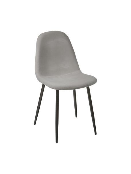 Fluwelen stoelen Karla in grijs, 2 stuks, Bekleding: fluweel (100% polyester), Poten: gepoedercoat metaal, Fluweel grijs, 44 x 53 cm