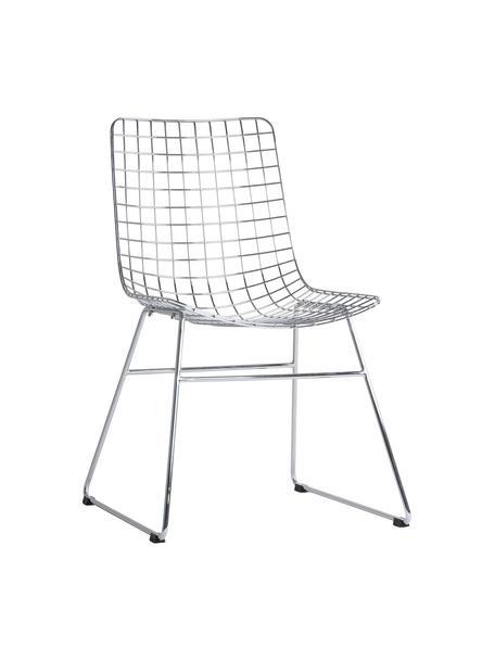 Metalen stoel Wire chroomkleurig, Verchroomd metaal, Chroomkleurig, B 47 x D 54 cm