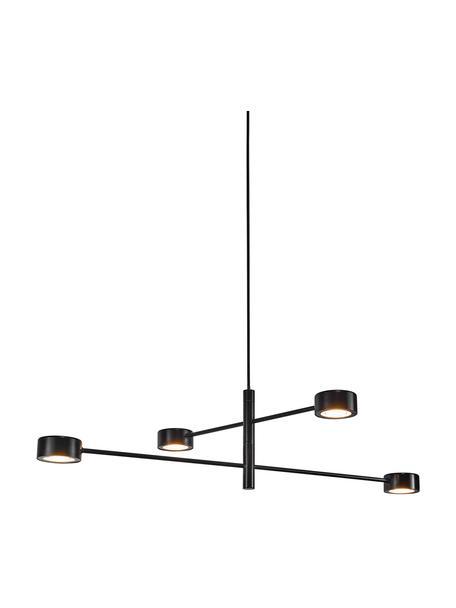 Lámpara de techo LED grande regulable Clyde, Pantalla: metal recubierto, Estructura: metal recubierto, Anclaje: metal recubierto, Cable: cubierto en tela, Negro, Ø 90 x Al 22 cm