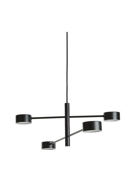 Grote dimbare LED hanglamp Clyde, Lampenkap: gecoat metaal, Baldakijn: gecoat metaal, Zwart, Ø 90  x H 22 cm