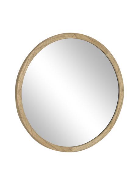 Specchio da parete rotondo  con cornice in legno Alum, Cornice: legno mindi Superficie de, Beige, Ø 80 x Prof. 4 cm