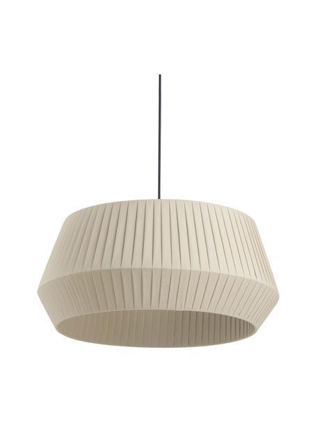Lampa wisząca z plisowanej tkaniny Dicte, Beżowy, czarny, Ø 53 x W 29 cm