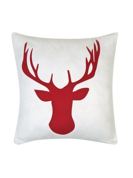 Kissenhülle Deer mit Hirschmotiv in Weiß/Rot, Baumwolle, Panamabindung, Dunkelrot, Ecru, 40 x 40 cm