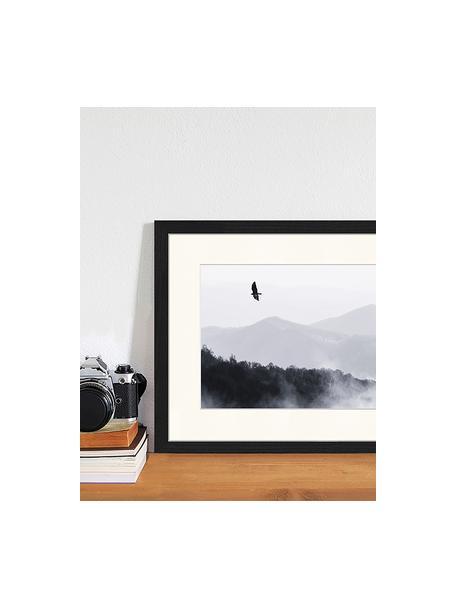 Gerahmter Digitaldruck Bird Flying Over Misty Hills, Bild: Digitaldruck auf Papier, , Rahmen: Holz, lackiert, Front: Plexiglas, Schwarz, Weiß, 43 x 33 cm