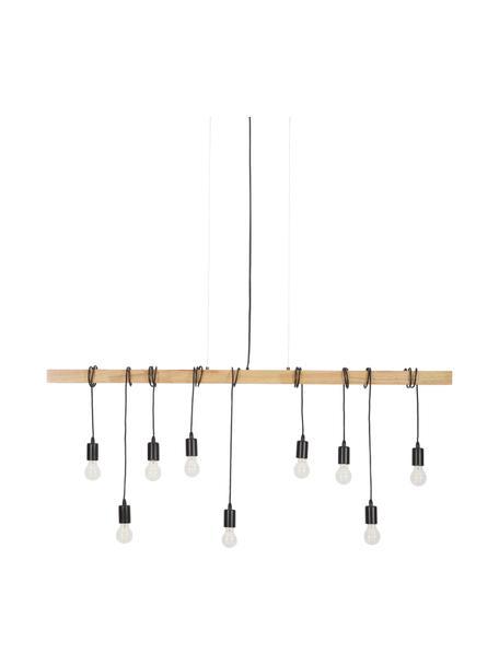 Duża lampa wisząca z drewna Townshend, Czarny, drewno naturalne, S 150 x G 10 cm