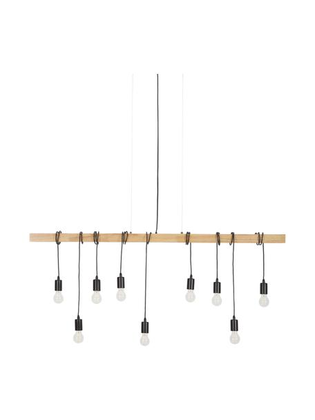 Grosse Pendelleuchte Townshend aus Holz, Baldachin: Stahl, lackiert, Schwarz, Holz, B 150 x T 10 cm