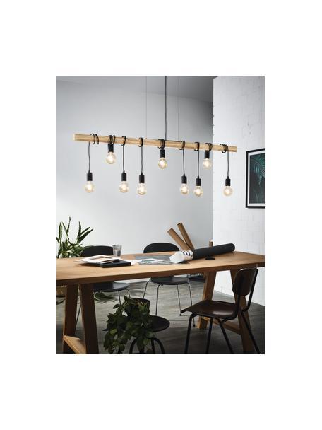 Grote hanglamp Townshend van hout, Zwart, houtkleurig, B 150  x D 10 cm