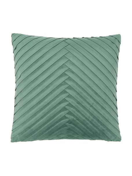 Samt-Kissenhülle Lucie in Dunkelgrün mit Struktur-Oberfläche, 100% Samt (Polyester), Grün, 45 x 45 cm