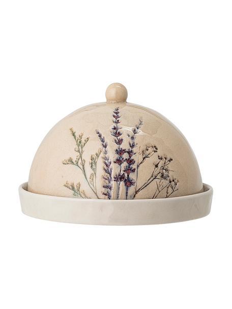 Handgemaakte botervloot Bea met grasmotief, Keramiek, Beige, Ø 15 x H 10 cm