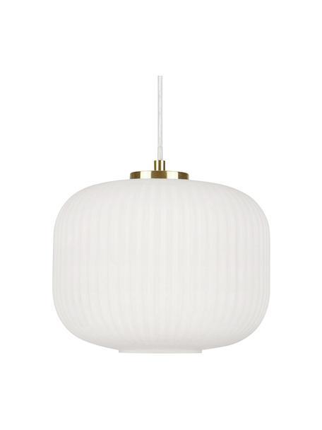 Lámpara de techo pequeña de vidrio Sober, Pantalla: vidrio, Anclaje: metal cepillado, Cable: plástico, Blanco, Ø 25 x Al 22 cm
