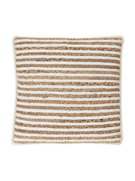 Federa arredo in juta Faeka, Retro: 100% cotone, Beige, bianco, Larg. 40 x Lung. 40 cm