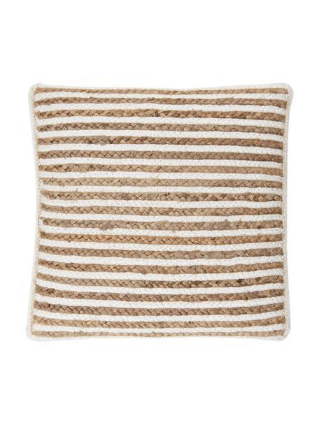 Gestreifte Jute-Kissenhülle Faeka, Vorderseite: Jute, Baumwolle, Rückseite: 100% Baumwolle, Beige,Weiß, 40 x 40 cm
