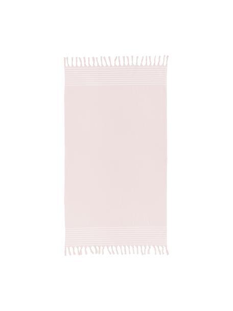 Hamamdoek Freddy met franjes en badstof aan de achterkant, Roze, 100 x 180 cm