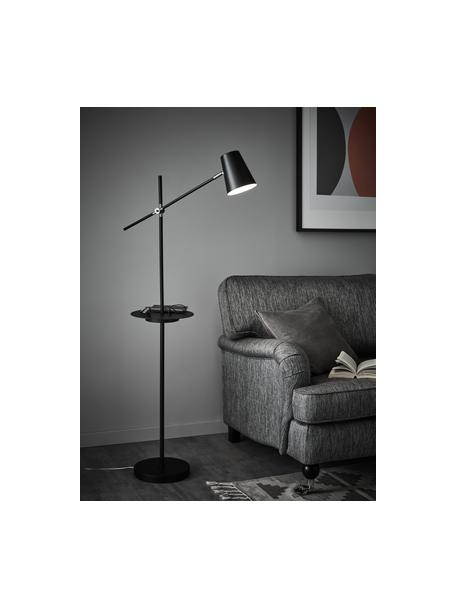 Leselampe Linear mit Ablage und Ladestation, Lampenschirm: Metall, beschichtet, Dekor: Stahl, gebürstet, Schwarz, T 65 x H 144 cm