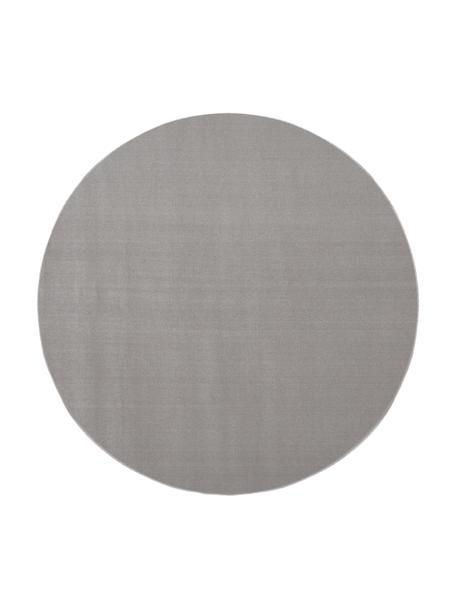 Rond wollen vloerkleed Ida in grijs, Bovenzijde: 100% wol, Onderzijde: 60% jute, 40% polyester, Grijs, Ø 120 cm (maat S)