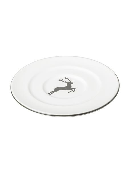Handbeschilderd schoteltje gourmet Grey Deer, Keramiek, Grijs, wit, Ø 16 cm