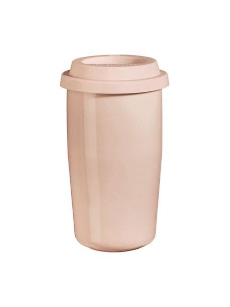 Kubek termiczny Therimo, Porcelana, silikon, Blady różowy, Ø 9 x W 15 cm