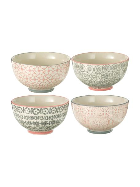 Kommen Cécile met klein patroon, 4-delig, Keramiek, Beige, grijs, roze, Ø 13 x H 8 cm