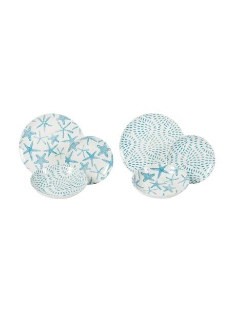 Vajilla Playa, 6comensales (18pzas.), Porcelana, Turquesa, blanco, Set de diferentes tamaños