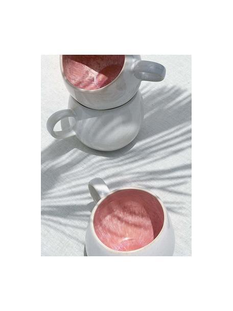 Ręcznie malowana filiżanka do herbaty Areia, 2 szt., Kamionka, Odcienie czerwonego, złamana biel, jasny beżowy, Ø 9 x W 10 cm