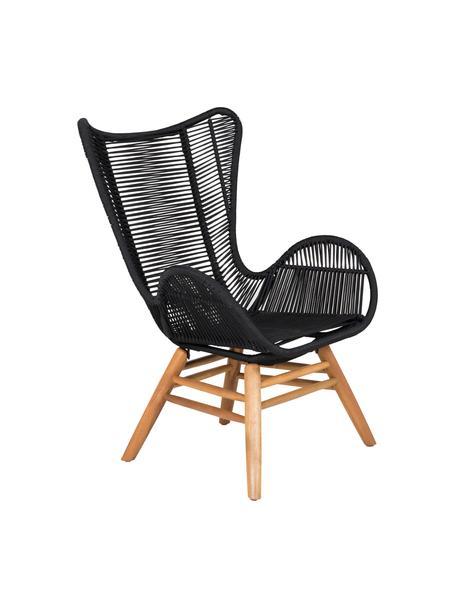 Fotel ogrodowy z nogami z drewna Tingeling, Nogi: drewno akacjowe, Czarny, beżowy, S 72 x G 78 cm
