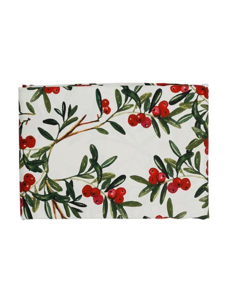 Baumwoll-Tischdecke Airelle mit weihnachtlichen Motiven, Baumwolle, Weiß, Rot, Grün, Für 4 - 6 Personen (B 160 x L 160 cm)
