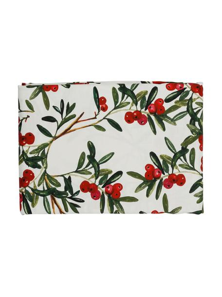 Katoenen tafelkleed Airelle met kerstmotief, Katoen, Wit, rood, groen, Voor 4 - 6 personen (B 160 x L 160 cm)