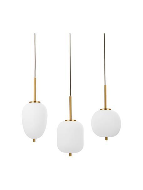 Hanglamp Lato van glas, Decoratie: gecoat metaal, Baldakijn: gecoat metaal, Wit, goudkleurig, 53 x 120 cm