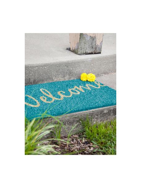 Zerbino in cocco con scritta Welcome, Retro: materiale sintetico (PVC), Forte turchese, beige, Larg. 40 x Lung. 60 cm