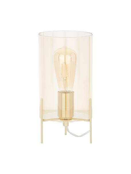 Kleine Tischlampe Laurel aus farbigem Glas, Lampenschirm: Glas, Lampenschirm: BernsteinfarbenLampenfuss: MessingfarbenKabel: Transparent, Ø 14 x H 28 cm