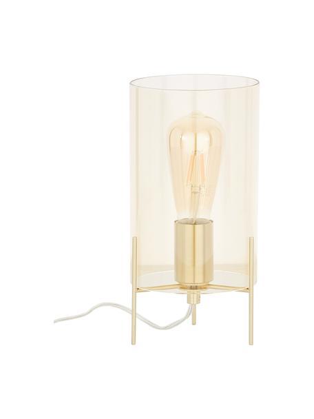 Tafellamp Laurel van gekleurd glas, Lampenkap: glas, Lampvoet: geborsteld metaal, Lampenkap: amberkleurig. Lampvoet: messingkleurig. Snoer: transparant, Ø 14 x H 28 cm