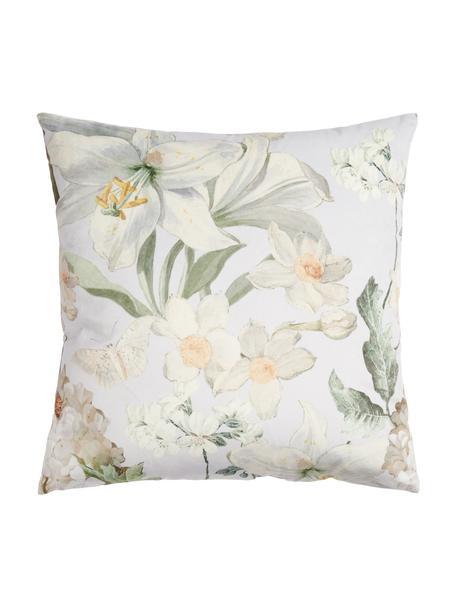 Samt-Kissen Rosalee mit Blumen-Muster, mit Inlett, 100% Polyestersamt, Hellgrau, Weiss, Beige- und Grüntöne, 50 x 50 cm
