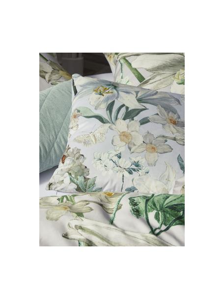 Poduszka z aksamitu z wypełnieniem Rosalee, Aksamit poliestrowy, Jasny szary, biały, beżowy i odcienie zielonego, S 50 x D 50 cm