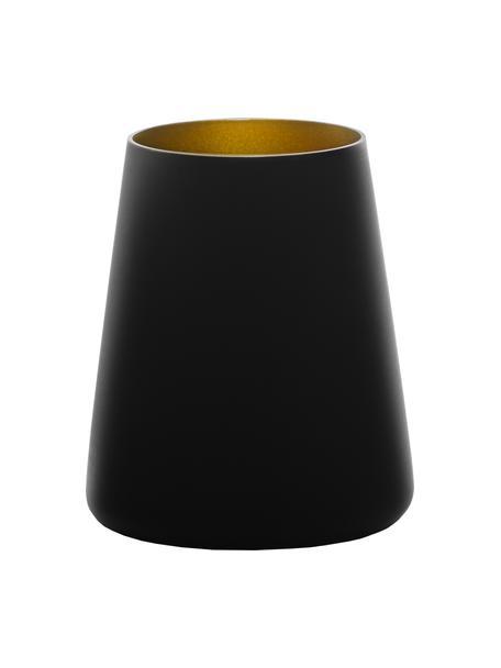 Kegelvormige kristallen cocktailglazen Power in zwart/goudkleur, 6 stuks, Gecoat kristalglas, Zwart, goudkleurig, Ø 9 x H 10 cm