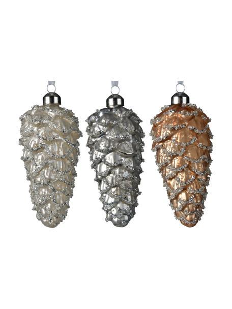 Baumanhänger Zapfen H 12 cm, 6 Stück, Beige, Silberfarben, Goldfarben, Ø 5 x H 12 cm
