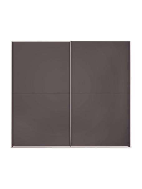 Kledingkast Oliver met schuifdeuren in donkergrijs, Frame: panelen op houtbasis, gel, Donkergrijs, 252 x 225 cm