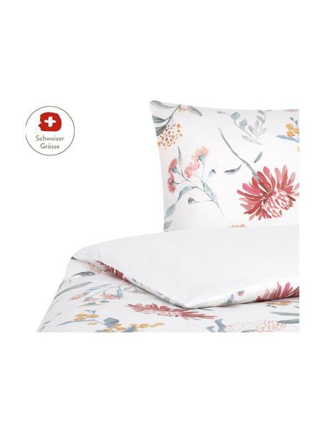 Baumwollsatin-Bettdeckenbezug Evie mit Aquarell Blumen-Muster, Webart: Satin Fadendichte 210 TC,, Floraler Druck, Weiss, 160 x 210 cm