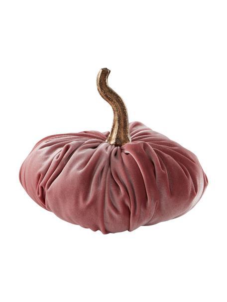 Zucca decorativa in velluto Pumpis, 15% poliresina, 35% acrilico, 25% poliestere, 25% riempimento con sabbia di quarzo, Rosa, Ø 19 x Alt. 18 cm
