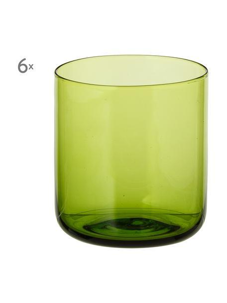 Vasos de agua Bloom, 6uds., Vidrio, Verde, Ø 7 x Al 8 cm