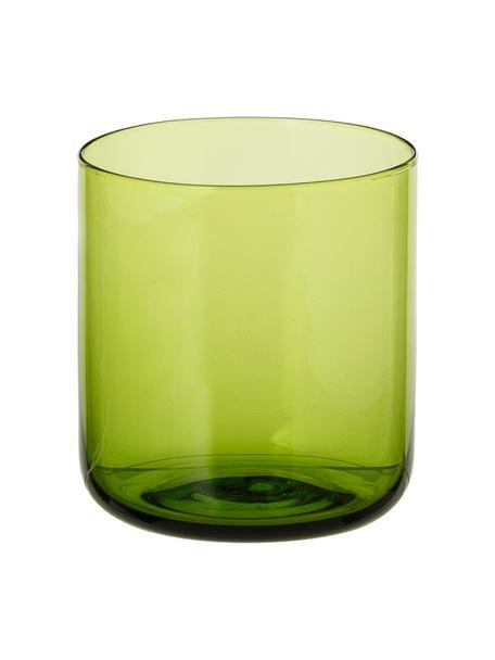 Mundgeblasene Wassergläser Bloom in Grün, 6 Stück, Glas, mundgeblasen, Grün, Ø 7 x H 8 cm