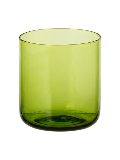 Vasos soplados artesanalmente Bloom, 6uds., Vidrio soplado artesanalmente, Verde, Ø 7 x Al 8 cm