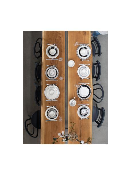 Set van 4 dinerborden Muschel Loft met gebogen rand, Porselein, Wit, Ø 26 x H 2 cm
