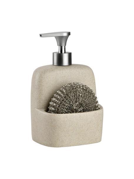 Zeepdispenserset Zand met spons, 2-delig, Beige, zilverkleurig, 11 x 19 cm
