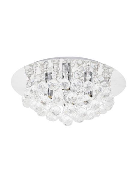 Kristalglazen plafondlamp Helena, Baldakijn: verchroomd metaal, Decoratie: glas, Zilverkleurig, Ø 35 x H 18 cm