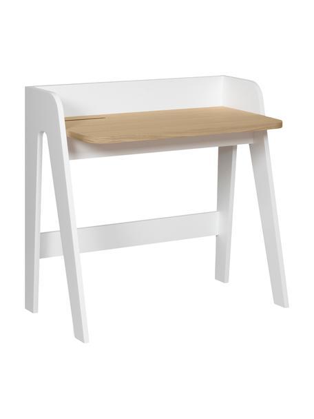 Skandi-Schreibtisch Fiore in Weiß, Gestell: Mitteldichteholzfaserplat, Tischplatte: Mitteldichteholzfaserplat, Weiß, Braun, B 91 x T 49 cm