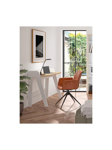 Scandi bureau Fiore in wit, Frame: gelakt MDF, Tafelblad: MDF met eikenhoutfineer, Wit, bruin, 91 x 49 cm